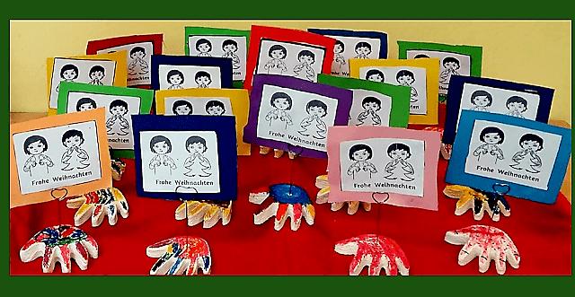 Weihanchtskarte mit Gebärden Kindergebärden Babyzeichensprache Babyzeichen Babygebärden